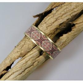 Bracelet manchette, jonc en laiton et papier japonais fond marron et multicolore