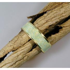 Bracelet manchette, jonc en laiton et papier japonais fond bleu et vert clair