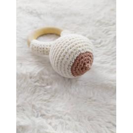 Hochet sein en coton bio cadeau maman allaitante