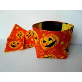 Panière halloween en tissu, lingettes lavables tissu orange