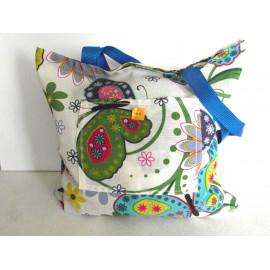 Tote bag, sac shopping, toile de coton écru motifs printannier