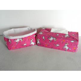 Corbeille en tissu et étui pour boîte à mouchoirs