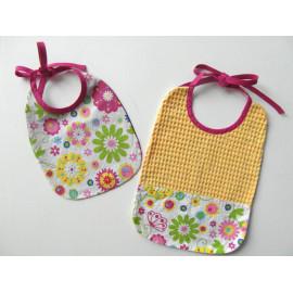 bavoirs 0 à 12 mois, tissu coton fleuri, serviette repas pour bébé