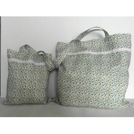 Tote bag coton blanc, sac shopping tissu blanc motif demi cercles verts et bleus, sac femme pliable