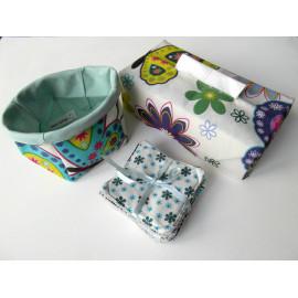 Lot panière + lingettes + housse pour boîte à mouchoirs