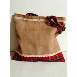 tote bag en toile de jute,sac shopping pliable, tote bag écossais