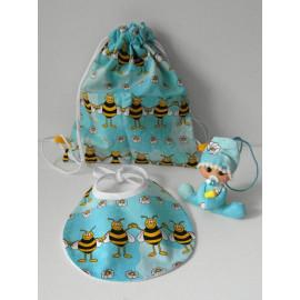 Coffret naissance bleu ciel avec abeilles en motif