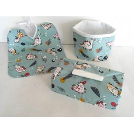 bavoir grande taille + étui pour boîte à mouchoir + panière en tissu imprimé