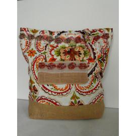 sac cabas en toile de jute, sac shopping shabby