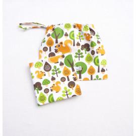 ensemble serviette de table 30x30 cm et sa pochette sac à vrac zéro déchet écologique réutilisable cantine nounou original