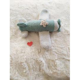 hochet Avion, peluche decorative,coton, fait main