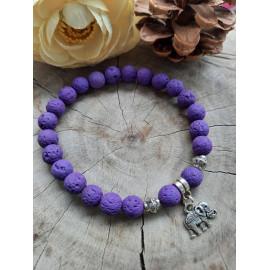 Bracelet en pierres naturelles PIERRE DE LAVE teintée violet (Adelys)