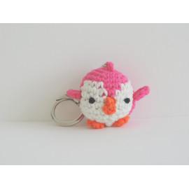 Porte clés pingouin rose
