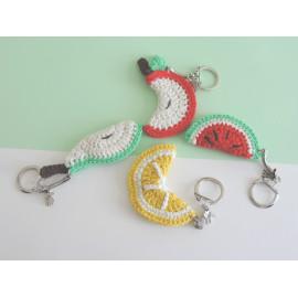 Porte clés fruits pomme, pastèque, citron, poire fait main, cadeau anniversaire, noel,cadeau babysitter,nounou,maitresse,collegu