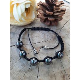Bracelet ajustable Shamballa en pierres naturelles HEMATITE (Sacha)