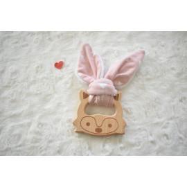 Hochet renard oreilles lapin, et bois non traité, hochet dentition, cadeau naissance, fait main, jouet eveil
