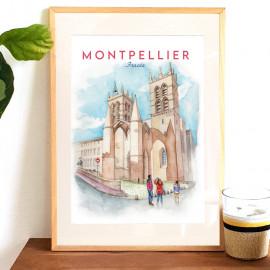 Affiche aquarelle de Montpellier Cathédrale - Saint Pierre jouxtant l'école de médecine