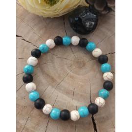 Bracelet homme/femme en pierres naturelles HOWLITE et AGATE (Camille)