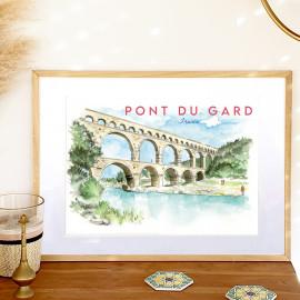 Affiche aquarelle du Pont du Gard - aqueduc romain et le gardon