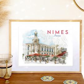 Affiche aquarelle Horloge Lycée Daudet - Café de La Grande Nîmes FRANCE