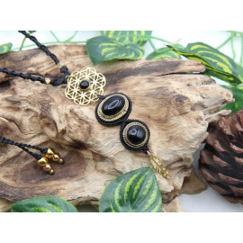 Collier Obsidienne • Laiton