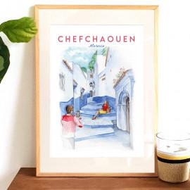 Affiche aquarelle Chefchaouen - perle bleue du MAROC - blanc et bleu - rif