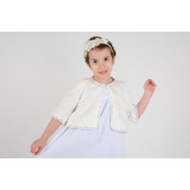 Boléro, veste petite fille pour cérémonie et mariage en coton écru