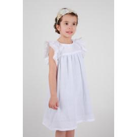 Robe petite fille cortège, baptême gaze de coton , manches papillons personnalisable.