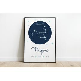 Affiche de naissance personnalisé prénom bébé constellation
