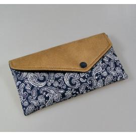 Pochette enveloppe, étui à lunettes en tissus japonais bleu et simili cuir