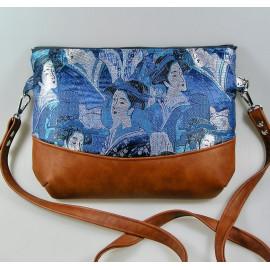 Sac bandoulière, crossbody bag tissus japonais bleu geisha et simili cuir marron