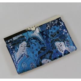 Portefeuille, compagnon en tissus japonais brocard bleu geisha