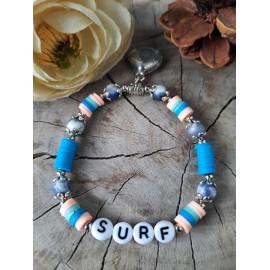 Bracelet surf en pierres naturelles SODALITE et perles heishi (Enza)