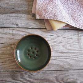 Porte-savon rond en grès