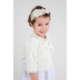 Headband cérémonie bohème petite fille dentelle et fleur de cuir.
