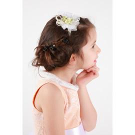 Diadème cérémonie petite fille fleurs de tissu et dentelle style bohème.