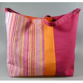 Sac cabas, sac hobo en coton épais à rayures et canvas rose