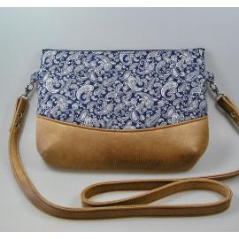 Sac bandoulière, crossbody bag tissus japonais bleu et simili cuir marron
