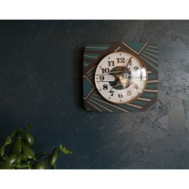 "Horloge vintage, pendule murale ""Vedette Transistor Noire & Bleue"""