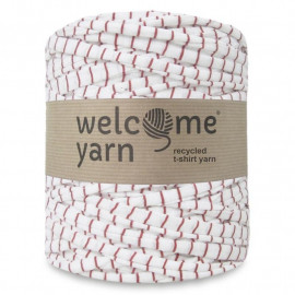 Trapilho rayé rouge et blanc - 120 m - Welcome Yarn - TP1034