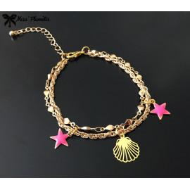 Bracelet multichaines Pink Playa