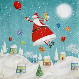 1 Serviette en papier - Père Noël volant - 33 x 33 cm