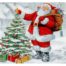 1 Serviette en papier - Père Noël et sapin - 33 x 33 cm