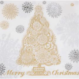 1 Serviette en papier - Sapin doré Merry christmas - 33 x 33 cm