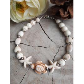 Bracelet cérémonie en pierres naturelles HOWLITE (Marine)