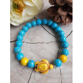 Bracelet en pierres naturelles HOWLITE turquoise et sa tortue (Maeva)