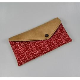 Pochette enveloppe, étui à lunettes en tissus japonais rouge et simili cuir
