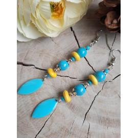Boucles d'oreilles en pierres naturelles HOWLITE turquoise, sequin émaillé (Maeva)