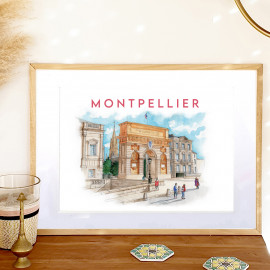 Affiche aquarelle de l'arc de Triomphe de Montpellier - ocre jaune