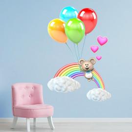 Stickers l'ours, l'arc-en-ciel et les ballons